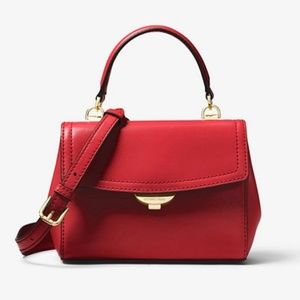 MICHAEL KORS Ava Extra-Small RED Leather Crossbody